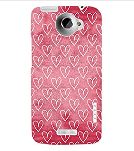 ColourCraft Beautiful Hearts Pattern Design Back Case Cover for HTC ONE X