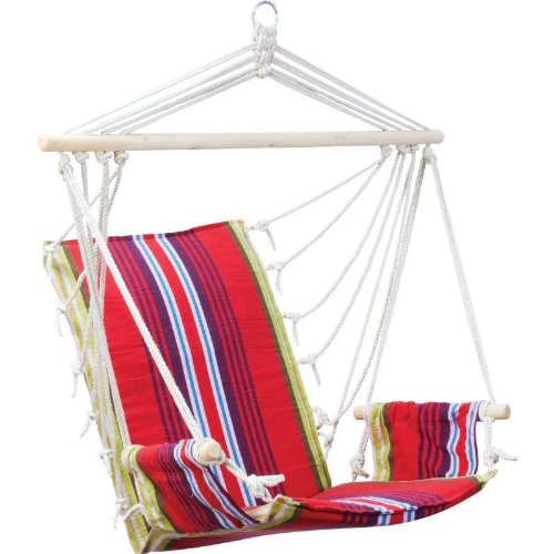 Red Hanging Rope Chair Outdoor Porch Swing Yard Tree Hammock Garden Seat 265 Lbs photo