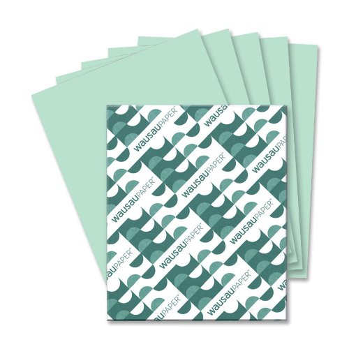Wausau Paper Vellum Bristol Cover Stock, 67 lb, Letter, Green, 250 Sheets per Pack (82351)
