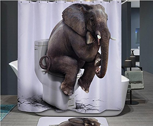 Imiee 72 X 72 Inch Elephant Digital Printing Anti Bacterial Waterproof Polyester Shower Curtain (Cool Shower Curtain compare prices)