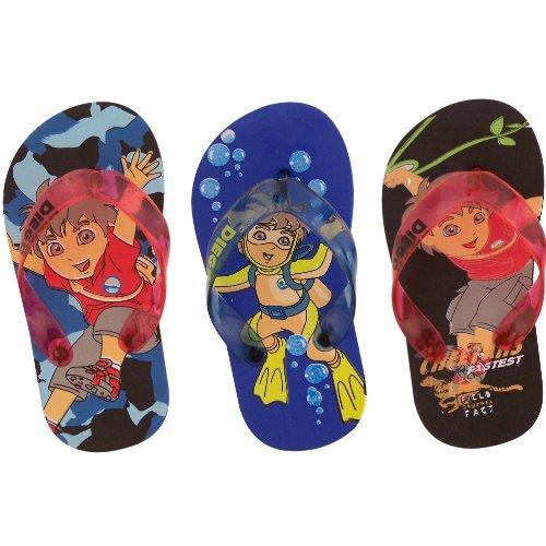 Cheap Go Diego Go Toddler Flip Flops / Thongs Sandals Black & Blue (B004SGWSNE)