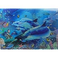 HSEC-804-0013  (3枚の絵変わる 3D ポスター 海の世界 イルカ ) サイズ:約295mm×約395mm 立体写真 3D 立体 ポスター ピクチャー 写真 ルームアクセ 立体画 3D 写真 ピクチャー 不思議...