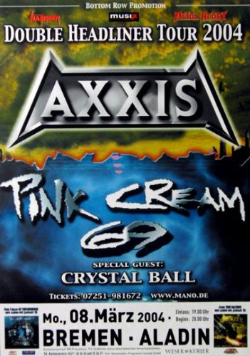 Axxis - 2004 - concerto Poster - Tour Poster - Concert - rosa crema 69