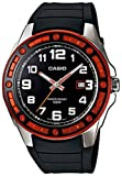 Casio Mens Core MTP1347-1AV Black Resin Quartz Watch with Orange Dial
