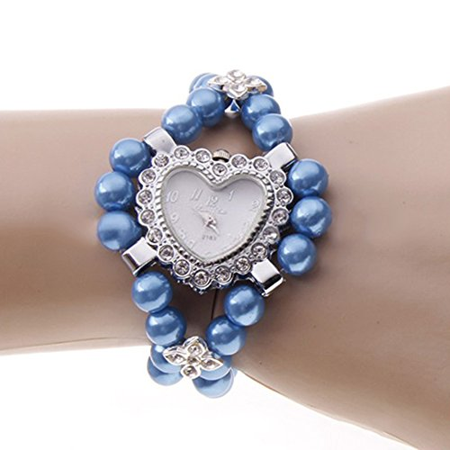 Fashion Ladies Girls Love Heart Crystal Pearls Bracelet Quartz Wrist Watch Bangle (Blue)