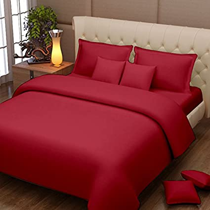 Buy 2 Get 1 Free On Home Products By Amazon | Story @ Home 152 TC 100% Cotton Maroon 1 Double Bedsheet with 2 Pillow Cover @ Rs.551