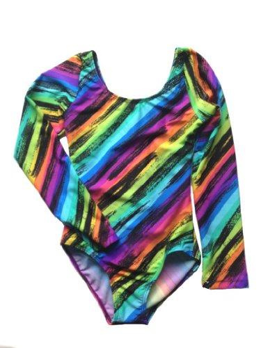 Rainbow Stripes Long Sleeve Leotard (Youth M (8-10), Rainbow Stripes)