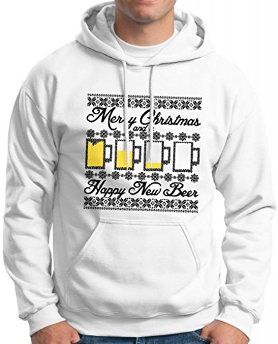 Ugly Christmas Sweater Beer Mugs Happy New Beer Premium Hoodie Sweatshirt Small White
