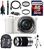 Sony a5100 ILCE-5100L/W 16-50mm Interchangeable Lens Camera with 3-Inch Flip Up LCD (White) w/ Sony E 55-210mm F4.5-6.3 OSS Lens for Sony E-Mount Cameras (Silver), Full Size Tripod, Backpack, Filters, 32GB Memory