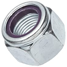 "Steel Hex Nut, Zinc Plated Finish, Grade 2, Self-Locking Nylon Insert, Right Hand Threads, 7/16""-14 Threads, 0.698"" Width Across Flats (Pack of 100)"