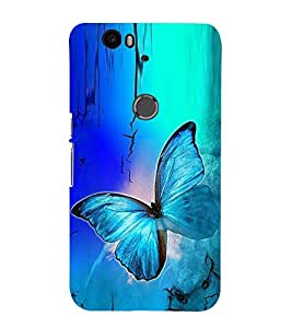 Fuson Premium Back Case Cover Colourful Butterfly With Yellow Background Degined For Huawei Google Nexus 6P