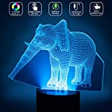 Elephant 3D Optical Illusions LED Lamps, YKL World Amazing 7 Changing Colors Acrylic Flat Touch Button Table Desk Night Light with 5 feet USB Cable for Kids Bedroom Christmas Birthday Gifts