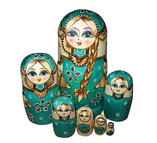 Leegoal New 7pcs Wooden Russian Nesting Dolls Braid Girl Dolls Traditional Matryoshka Wishing Dolls Gift Green