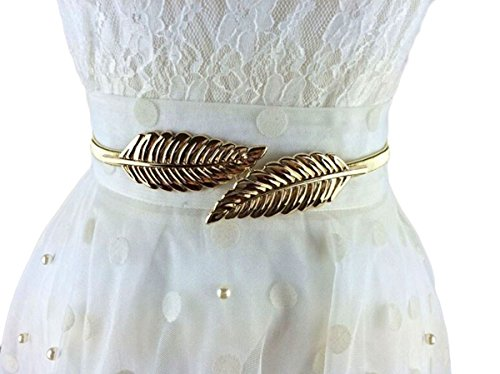 Women Gold Silver Leaf Shaped Casual Joker Belt (Gold)