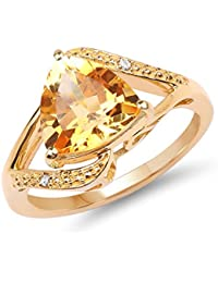 KLG Exim Genuine Citrine & White Diamond 14K Yellow Gold Plated .925 Sterling Silver Solitaire Ring