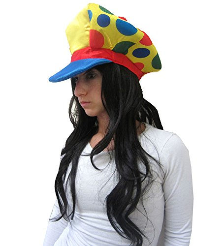 Foam Clown Hat - Large Foam Clown Visor Hat In Yellow, Blue And Red With Spots