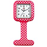 Lancardo Swirl Patterned Nurses Lapel Watch Silicone (Infection Control) for Infections Control (Rose)