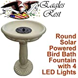 Montpelier Round Solar Birdbath with LED Lights
