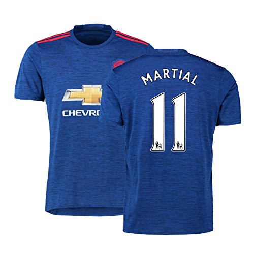 FC Football Jersey Manchester United Soccer Jersey Away Shirt 2016-17 Mens #11 Martial Blue S (Cheap Manchester United Jersey compare prices)
