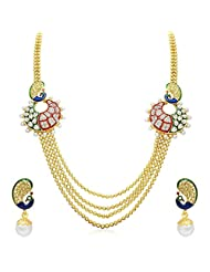 The Jewebox Peacock Meenakari American Diamond Kundan Pearl Long Haraam 4 Chain Necklace Earring Set For Women