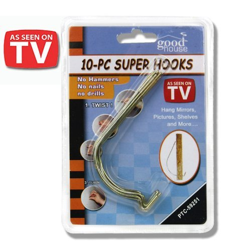 10pc Super Hooks – Hang Pictures without Hammer, Nails or Drilling! As Seen on TV