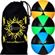 UV Juggling Balls set of 3 (ASTRIX) 6 Panel Leather Pro Juggling Ball Set & Travel Bag! (Orange/Green/Blue)