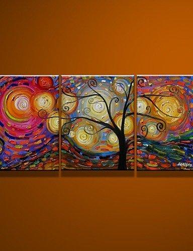 FEI&S 100% dipinte a mano e il dipinto a olio su tela ricco albero 3pz/non impostare alcun telaio,Pittura solo