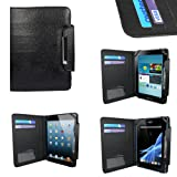 CaseGuru Croc Collection Smooth Black Wallet Universal Case Cover Featuring Corner Strap Security, Card Slots For Credit/Debit/Oyster Card & Magnetic Snap Closure Suitable For Kobo Arc, iPad Mini, HP Slate, Acer Iconia B1, Samsung Galaxy Tab 2 7.0 P3100
