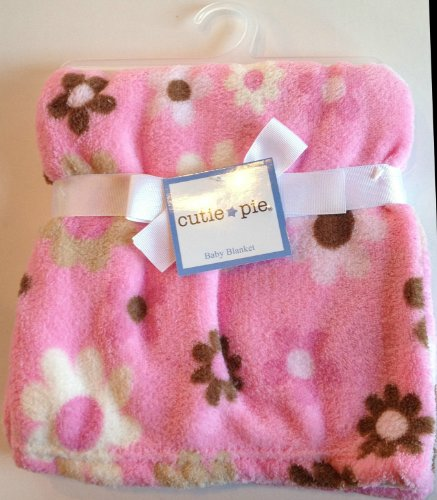 Cutie Pie Baby Blanket: Pink with Brown and White Flowers - 1