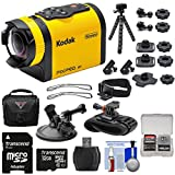 Kodak PixPro SP1 Video Action Camera Camcorder - Aqua Sport Pack with Suction Cup & Wrist Mounts + 32GB Card + Case + Tripod + Kit