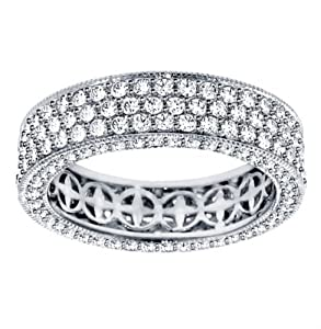 2.85 CT TW Round Diamond Pave Set Eternity Band with Side Stones in Platinum - Size 7