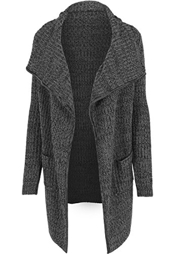 Urban Classics - Mantel Knitted Long Cape, Giubbotto Donna, Nero (Charcoal), X-Large (Taglia Produttore: X-Large)