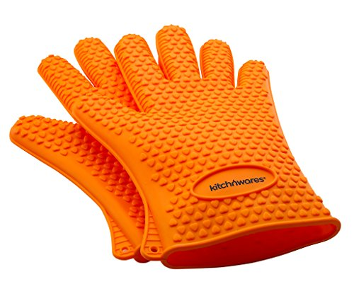 Orange Heat Resistant Silicone Gloves - Great for Use In Kitchen Handling All High Temperature Food- Protective Oven, Grilling, Baking, Smoking & Cooking Gloves -, Easier Than Mitts-By Kitch N' Wares