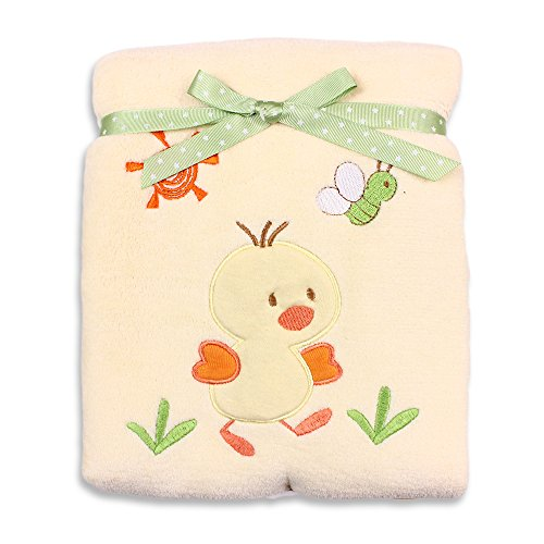 Spasilk Baby-Girls Newborn Extra Thick Plush Blanket with Satin Trim, Yellow Duck, 30 Inchx40 Inch