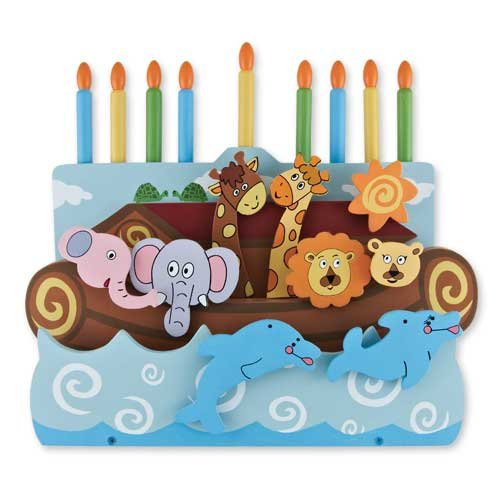 1 X Wooden Menorah w/Removable Candles - Ark