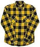 メンズ シャツ 長袖 ブロックチェック ワークシャツ 76802 (38(M), イエロー)