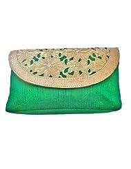 Bhamini Raw Silk GOTA Cutwork Flap Clutch (Green)