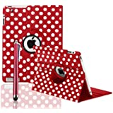 ROTATING 360 LEATHER CASE COVER + SCREEN PROTECTOR FOR APPLE IPAD 2 AND 3 AND IPAD 4 4TH GEN - BY SMARTPHONEZ_UK (RED POLKA)
