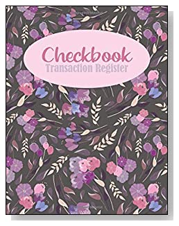 Floral Background Checkbook Transaction Register - A beautiful book with wide lines to easily track all your checking account activity without having to write tiny and cram everything into those little check register booklets.