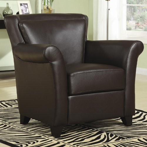 accent chair with rolled arms flared back in chocolate leatherette