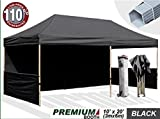 Eurmax 6 x 3m Pop up Gazebo, Trade Show Marquee, Commercial Grade With Aluminum Foot Legs with Sides, and Wheeled Carry Bag (Black)