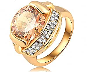 18K Gold Plated Zircon Ring with Austrian Crystal Cocktail Ring Fashion Jewelry For Girls Ladies By JewelQueen