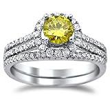 1.23ct Fancy Yellow Round Diamond Engagement Ring Matching Band Set 18k Gold thumbnail