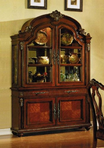 Cheap China Cabinet Buffet Hutch with Carved Leaf Detail in Cherry Finish (VF_AM10268)