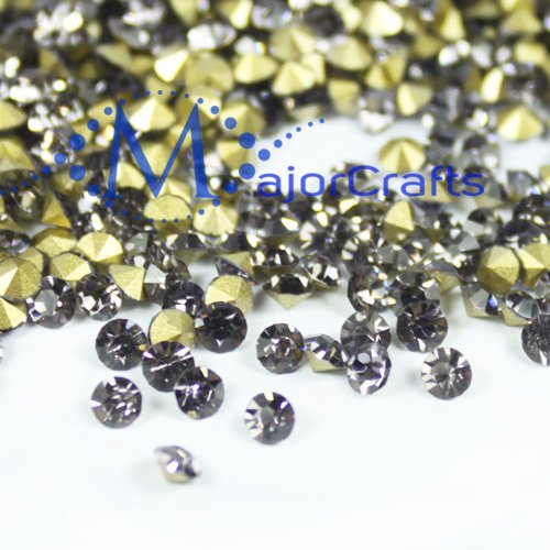 Majorcrafts 280Pcs Black Diamond 7.7Mm Ss37 Point Back Glass Chatons, Rhinestones