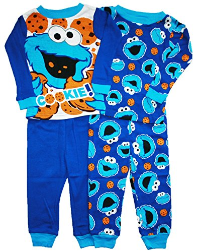 Sesame Street Cookie Monster Baby Boys 4 Pc Tight Fit Cotton Pajama Set