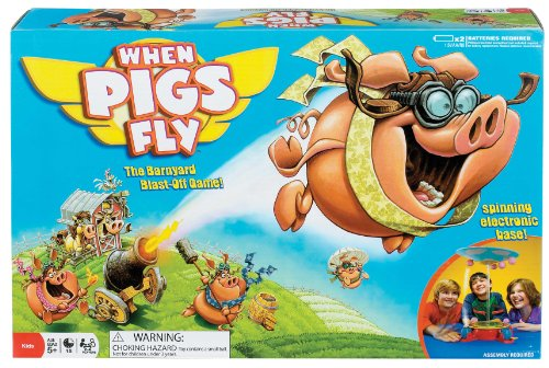 Poof-Slinky - Ideal When Pigs Fly Board Game With Spinning Electronic Base And Overhead Cloud Cone, 0X2465