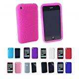 HOT PINK Apple iPhone 3G 3Gs 8GB 16GB 32GB Textured Silicone Skin Case Cover + Free Screen Protector (Many Colors Available)