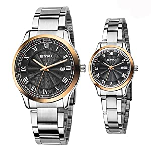 EYKI Ori-0865 Cool Silvery Steel Band black Dail Gold case Couple's Quartz Analog Wrist Watch