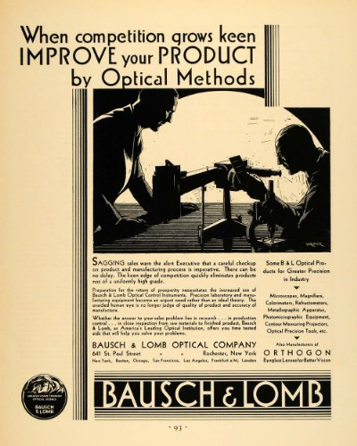 1930 Ad Bausch & Lomb Optical Products Microscope Art - Original Print Ad